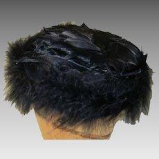 Vintage 1940's '50's Ladies Black Natural Feather Hat