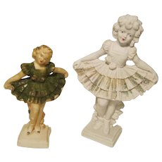 Shirley Temple Carnival Chalk / Soapstone  Figurine (2) Rugerri 1930's