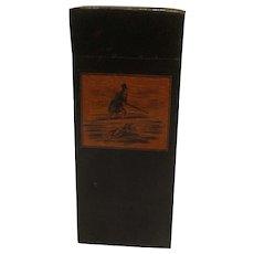 Vintage Fox Hunter Wood Pocket / Travel Cigar Case