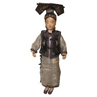 Antique Asian All Cloth Chinese Manchu Court Lady Doll Silk Clothes 13""