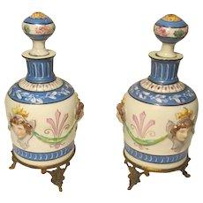 Perfume / Dresser Porcelain Bottle Pair W / Raised Faces fleur-de-lis Design
