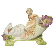 Art Nouveau Style Bisque Figural Nymph / Swan Pillow Vase #7781