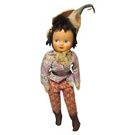 "Souvenir International Doll 14"" Celluloid Face Cloth Body"