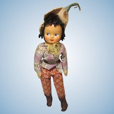 "Souvenir International Doll 14"" Celluloid Face Cloth Body"