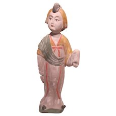 "Chinese Lady Figurine Chalkware Plaster of Paris 17"" Hong Kong"
