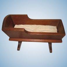 Primitive Handmade Wood Doll Cradle W / Mattress