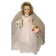 "Madame Alexander Wendy Walker Bride doll  W / Box Tag  Hat Box  18"""
