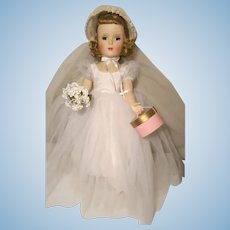 Madame Alexander Wendy Walker Bride doll  W / Box Tag  Hat Box  18""