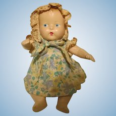 """Unmarked 11"""" Composition Baby Doll Bent Knee Freudlich"""
