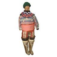 "Greenland Inuit Wood Folk Doll Artist Signed Betsy Dugdale 17"""