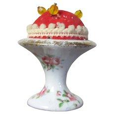 """2 1/2"""" Vintage Pin Cushion Porcelain / China Pedestal Gilt Edging"""