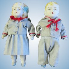 """All Bisque Jointed Boy & Girl Doll  5 3/4"""" Unmarked"""