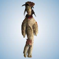 "Plains Indian Male Buckskin Doll 14""  Handmade"