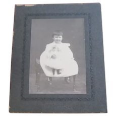 Child W / Doll Professional Studio Photo  Early 1900's