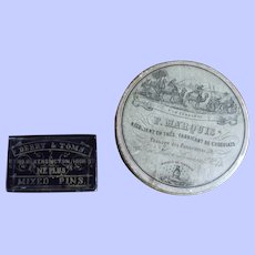 Attractive Small  Early 19thC French chocolate box + 19thc small box of Mourning Pins