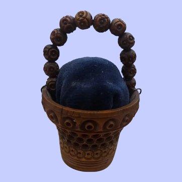 A Delightful Little Coquilla Nut Pincushion Basket C1870