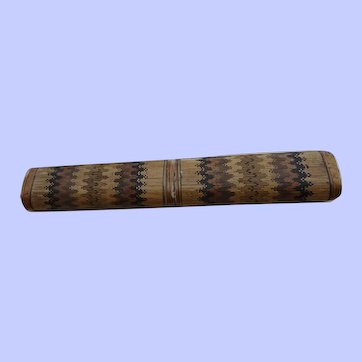A Charming Early 19th Century Straw Work Knitting Needle Case