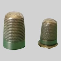 Two Fine English Silver Thimbles Hallmarked 1918 and 1896
