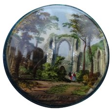 An Interesting 19th Century Reverse Glass Painted Pincushion Showing Ruins Of Netley Abbey