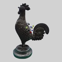 A Charming  19th century Gilt Metal Rooster Pin Cushion