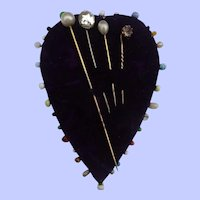 An Early 20thC Blue Velvet  Heart Pincushion + Hatpins