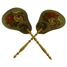 A Fine Pair Of Victorian Face Screens With Amazing Embroidery