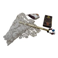 A  Charming Victorian  Pincushion, Needlecase, Named lace bobbin & Brussels lace
