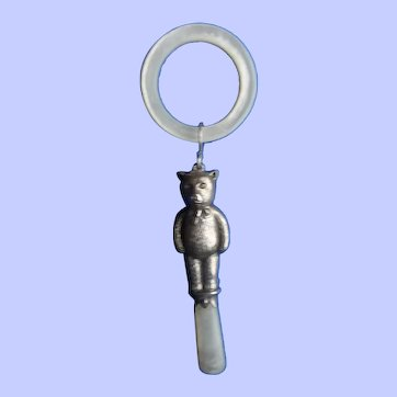 A Sweet Hallmarked Silver Baby's Rattle and Teether Of A Teddy Bear