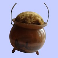 A 19th Century Mauchline Ware Witch's Cauldron Shaped Pin Cushion