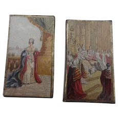 Two Delightful Early 19th Century Needle Packet Boxes With Baxter Prints