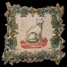 The Sweetest Victorian Beaded Pincushion of a Seated Cat