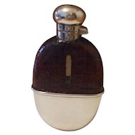 Fine English Silver and  Crocodile Leather  Mappin & Webb Spirit Flask Hallmarked Birmingham 1911