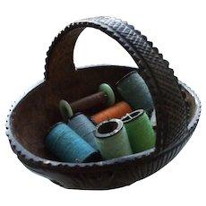 An Unusual 19th Century Carved Coconut Shell (Bug Bear) Thread Basket