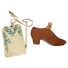 A Charming Leather Shoe Pincushion and Pretty Aide Memoire Circa 1900