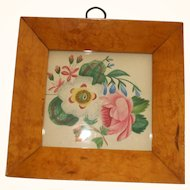 Delightful Floral Watercolour In A Maple Frame Circa 1840