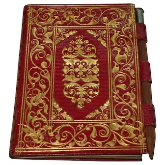 A Beautiful Red Leather With Gilt Decoration Aide Memoire C1870