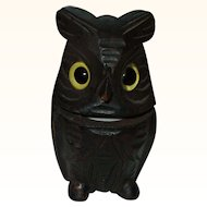 Wonderful Wooden Owl Inkwell Circa 1900