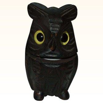 Wonderful Wooden Owl Inkwell Circa 1900