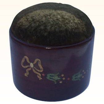 A Very Attractive Hand Painted Wooden Pincushion With Original Label Circa 1910