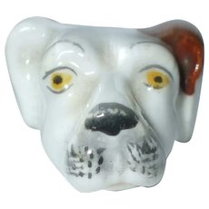 A Wonderful Ceramic Dog's Head Whistle C1840