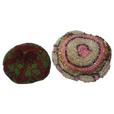 2 Old Beaded Cushions For Doll's House