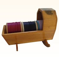 A Charming 19th Century Mauchline ware Thread Spool Cradle