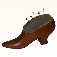 Good Quality Victorian Wooden Shoe Pincushion