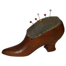 Good Quality Victorian Wooden Shoe Pincushion
