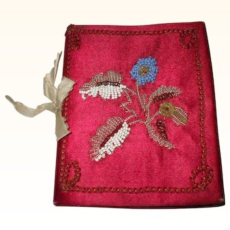 A Very Pretty Red Silk and Beadwork 19th Century Needle Case
