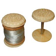 Two Delightful 19th Century Bone (Bovine) Thread Spools
