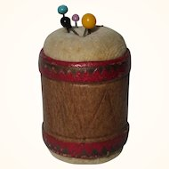 A Fine 19th Century Drum Shape Pincushion