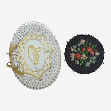 A 19thC Punched Card Irish Needlecase and A Victorian Embroidered Pincushion