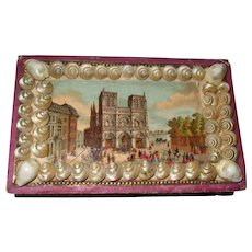 Forget Me Not Shell Box with Picture of Notre Dame