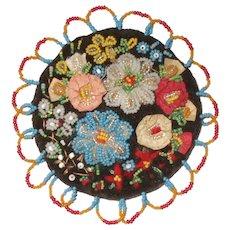 A Wonderful 19th Century Ribbon and Bead Work Pincushion